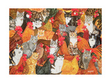 Chicken-Cats Giclee Print by  Ditz