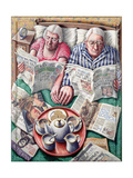 Sunday (Reading in Bed) Giclee Print by P.J. Crook