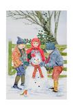 Building a Snowman Giclee Print by Catherine Bradbury