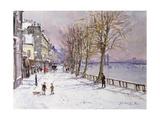 Cheyne Walk in Winter, London Giclee Print by John Sutton