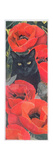 Black Cat with Poppies Giclee Print by Anne Robinson