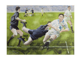 Rugby Match: England v New Zealand in the World Cup, 1991, Rory Underwood Being Tackled Giclee Print by Gareth Lloyd Ball