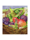 Red Pear with Figs and Asparagus, 1996 Giclee Print by E.B. Watts