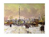 Trafalgar Square under Snow, London Giclee Print by John Sutton