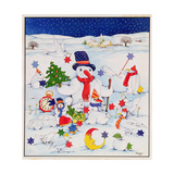 Snowman and Friends Giclee Print by Christian Kaempf