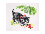 Christmas Kitten Giclee Print by Diane Matthes