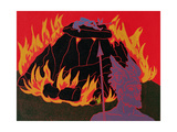 Flames Rise, Wotan Sadly Leaves His Beloved Daughter: Illustration for 'Die Walkure' Giclee Print by Phil Redford