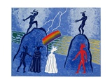 Donner and Froh Make Rainbow Bridge for Gods to Cross to Valhalla: Illustration for 'Das Rheingold' Giclee Print by Phil Redford