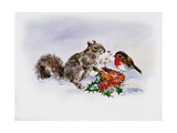 The Squirrel and the Robin Giclee Print by Diane Matthes