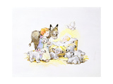 Donkey and Lambs around a Manger Giclee Print by Diane Matthes
