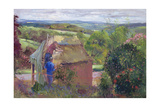 Thatching the Summer House, Lanhydrock House, Cornwall, 1993 Giclee Print by Timothy Easton
