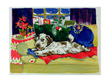 A Bone for Christmas Giclee Print by Diane Matthes