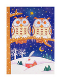 Two Owls on a Branch Giclee Print by Cathy Baxter