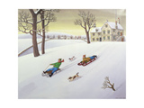 Tobogganing, 1986 Giclee Print by Larry Smart