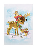 Christmas Reindeer and Rabbit Giclee Print by Diane Matthes