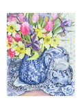 Daffodils, Tulips and Irises with Blue Antique Pots Giclee Print by Joan Thewsey