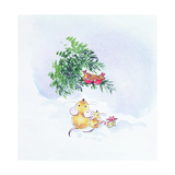 Christmas Mice and Robins Giclee Print by Diane Matthes