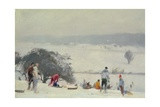 Tobogganing, the Meads, Hertford Giclee Print by Trevor Chamberlain