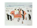 Penguins on a Red and White Sofa, 1994 Giclee Print by E.B. Watts