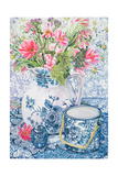 Gerberas in a Coalport Jug with Blue Pots Giclee Print by Joan Thewsey