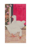 Ducks by the Open Door Giclee Print by Linda Benton