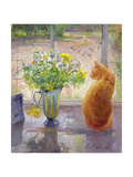 Striped Jug with Spring Flowers, 1992 Giclee Print by Timothy Easton