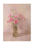 Pinks in a Glass Jar Giclee Print by Joyce Haddon