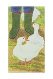 Ducks and Green Wellies Giclee Print by Linda Benton