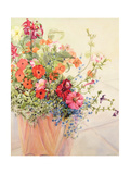 Petunias, Lobelias, Busy Lizzies and Fuschia in a Terracotta Pot Giclee Print by Joan Thewsey