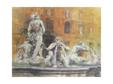 Fountain in the Piazza Navona, Rome, 1982 Giclee Print by Glyn Morgan