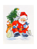 Father Christmas and Kittens, 1996 Giclee Print by Diane Matthes