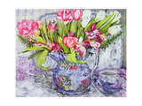 Pink and White Tulips, Orchids and Blue Antique China Giclee Print by Joan Thewsey