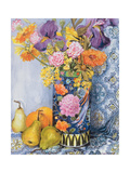Iris and Pinks in a Japanese Vase with Pears Giclee Print by Joan Thewsey