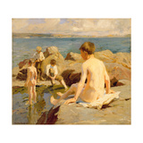 On the Rocks Near Newlyn Giclee Print by Harold Harvey