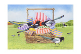 Magpies, 1990 Giclee Print by E.B. Watts