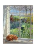Sleeping Cat and Chinese Bridge Lámina giclée por Timothy Easton