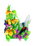 Fairy, Dragonfly and Beetle Giclee Print by Maylee Christie