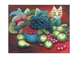 Cat and Fruit Giclee Print by Jerzy Marek