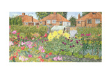 Allotments and Dahlias Giclee Print by Linda Benton