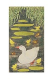 Mother Duck in the Pond with Her Ducklings Giclee Print by Linda Benton