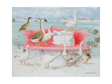 Geese on Pink Sofa, 2000 Giclee Print by E.B. Watts