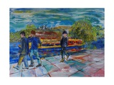 Boys on the Towpath Giclee Print by Brenda Brin Booker