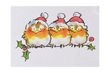 Christmas Robins Giclee Print by Diane Matthes