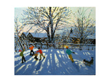 Fun in the Snow, Tideswell, Derbyshire Giclee Print by Andrew Macara