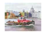Red Tug Passing St. Pauls, 1996 Giclee Print by Terry Scales