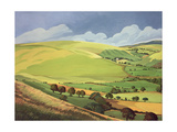 Small Green Valley, Wales Giclee Print by Anna Teasdale