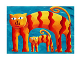 Curved Cats, 2004 Giclee Print by Julie Nicholls