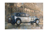 Christmas Lights and 8 Litre Bentley Giclee Print by Peter Miller