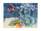 Still Life with Fruit and Flowers Giclee Print by Claire Spencer
