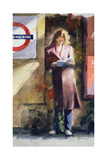Woman Reading on Notting Hill Gate Platform Giclee Print by John Lidzey